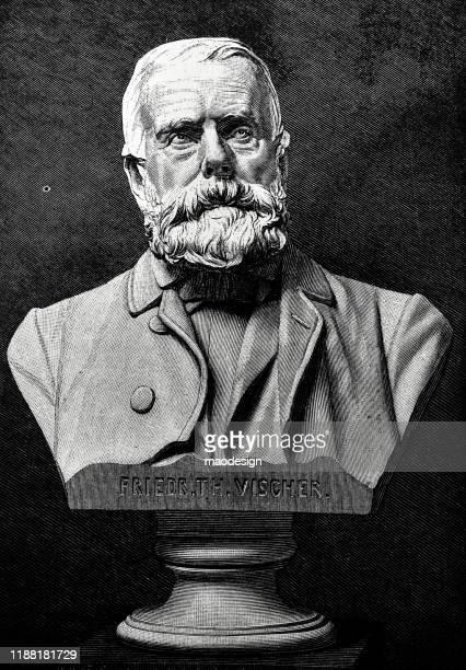 bust of friedrich theodor vischer - german philosopher - philosopher stock illustrations
