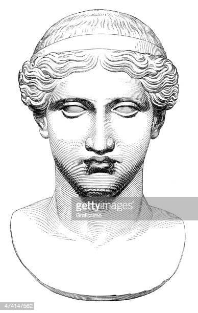 bildbanksillustrationer, clip art samt tecknat material och ikoner med bust of greek goddess hera illustration - grekisk gudinna