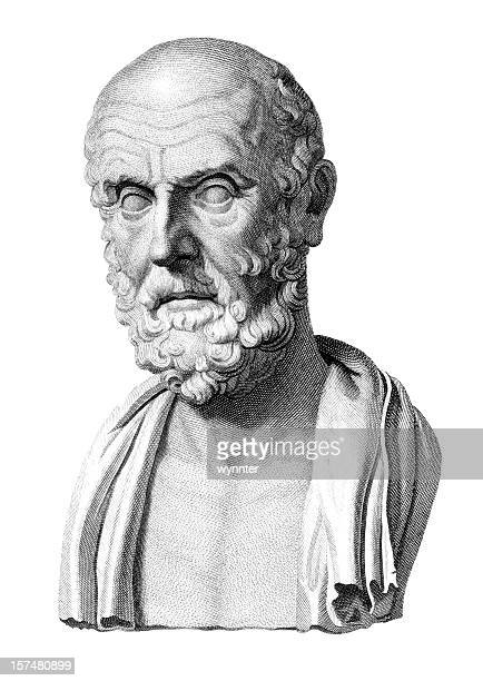 bust of hippocrates - greece stock illustrations
