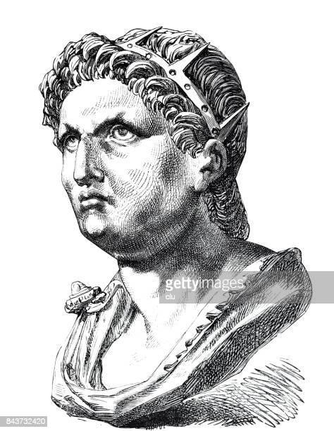 bust of nero - emperor stock illustrations