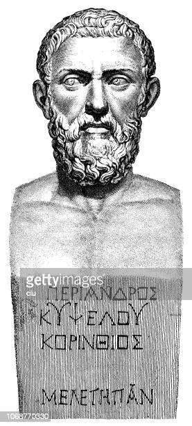 bust of periander, greek dictator - philosopher stock illustrations