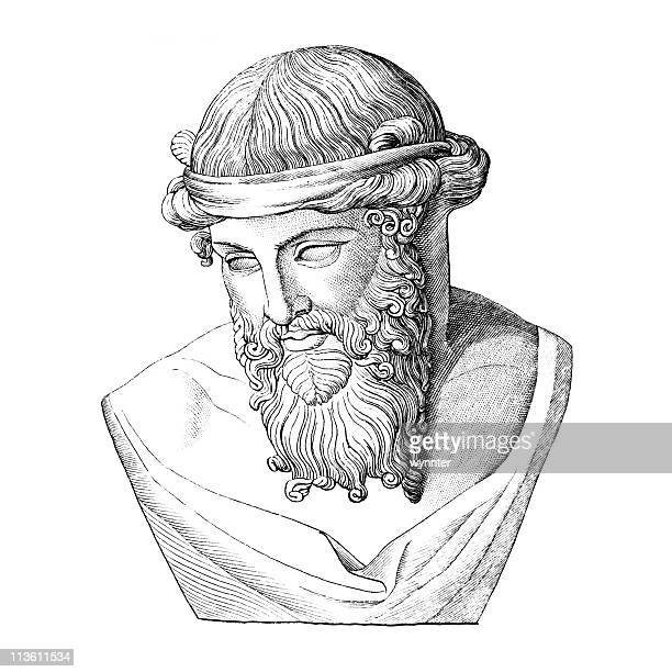 bust of plato, ancient greek philosopher - greece stock illustrations