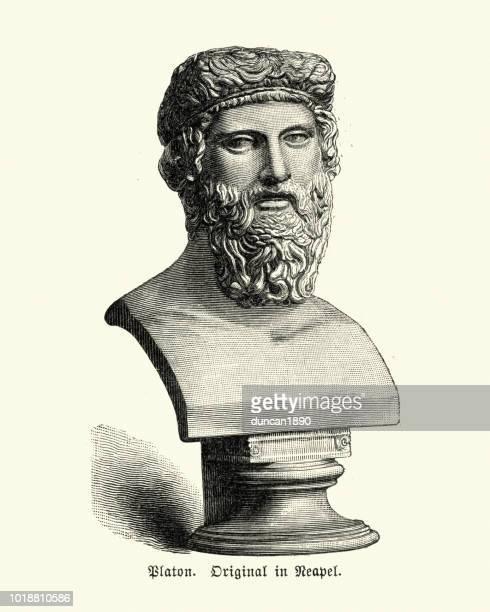 bust of plato - greek statue stock illustrations