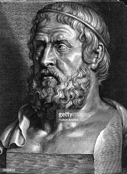 Bust of Sophocles Greek dramatist especially famous for tragedies, circa 400 BC. Original Artwork: Engraving by Pontius after Rubens.