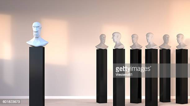 Bust standing out from the crowd, 3D Rendering