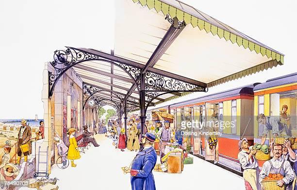Busy platform at Victorian railway station