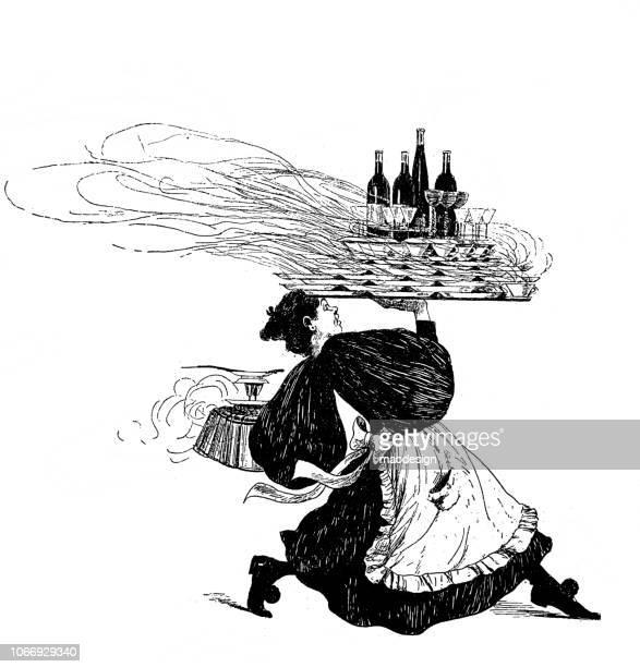 ilustrações, clipart, desenhos animados e ícones de empregado de mesa ocupado com cargas incríveis na travessa correndo para clientes - 1896 - gravura