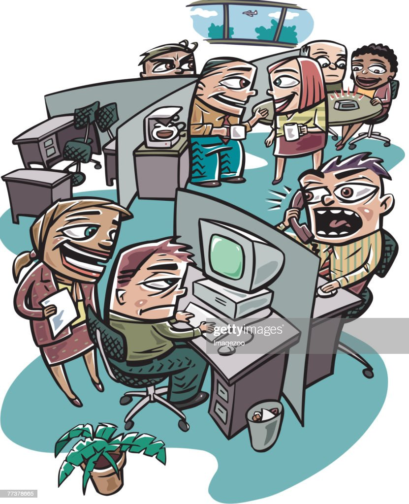 busy work office : stock illustration