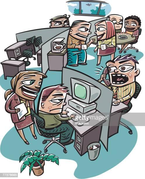 busy work office - office politics stock illustrations, clip art, cartoons, & icons
