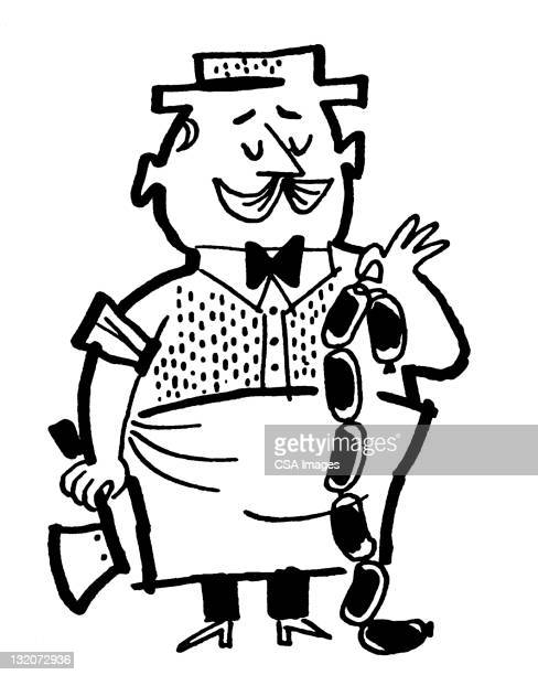 butcher holding sausage links - bologna stock illustrations, clip art, cartoons, & icons