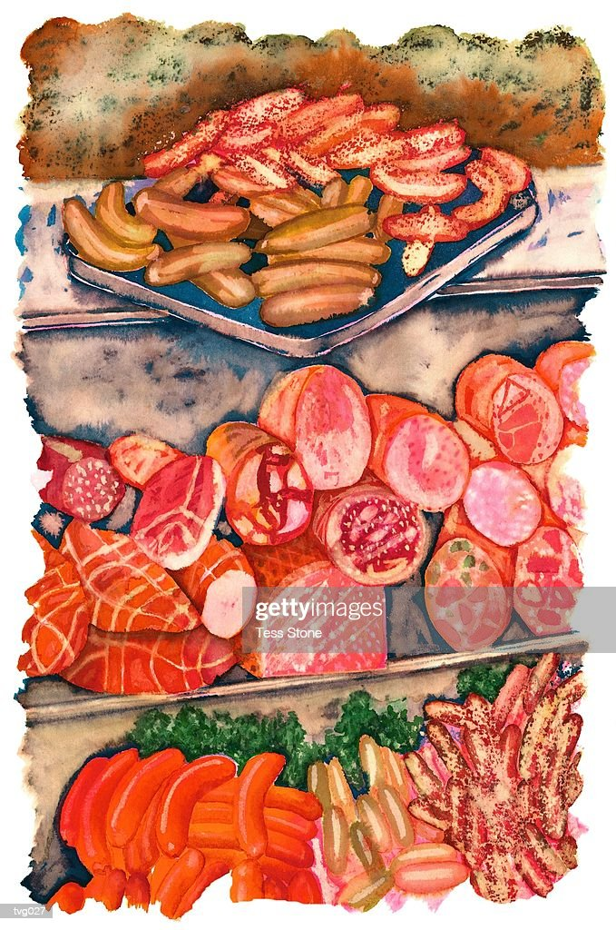 Butcher?s Shop Display : Stock Illustration