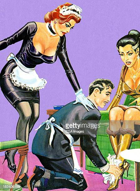 Butler and Maid Helping Woman