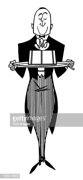 butler holding tray - butler stock illustrations, clip art, cartoons, & icons