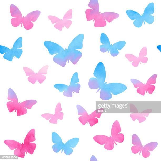 ilustrações, clipart, desenhos animados e ícones de borboletas em aquarela - lepidóptero