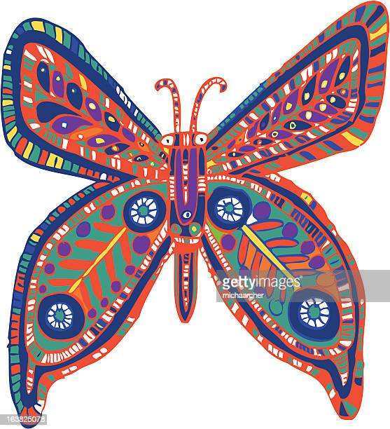 butterfly drawing - animal limb stock illustrations, clip art, cartoons, & icons