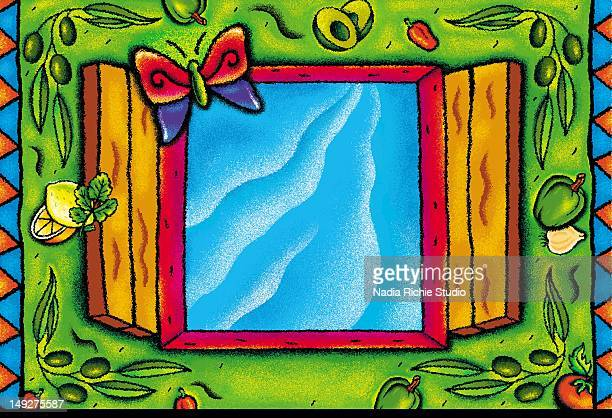 a butterfly flying in a window - animal limb stock illustrations, clip art, cartoons, & icons