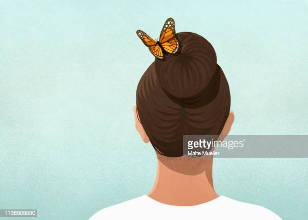 butterfly in womans hair - rear view stock illustrations