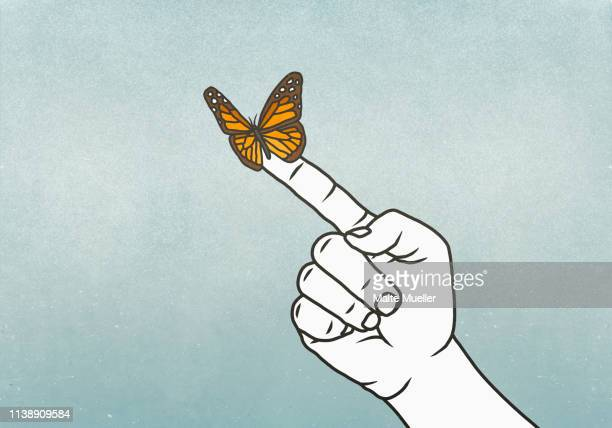 illustrations, cliparts, dessins animés et icônes de butterfly on finger - espoir