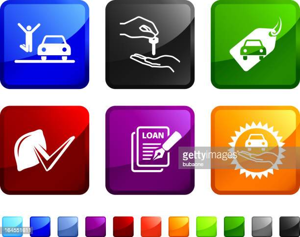 buying a new car royalty free vector icon set - car salesperson stock illustrations, clip art, cartoons, & icons