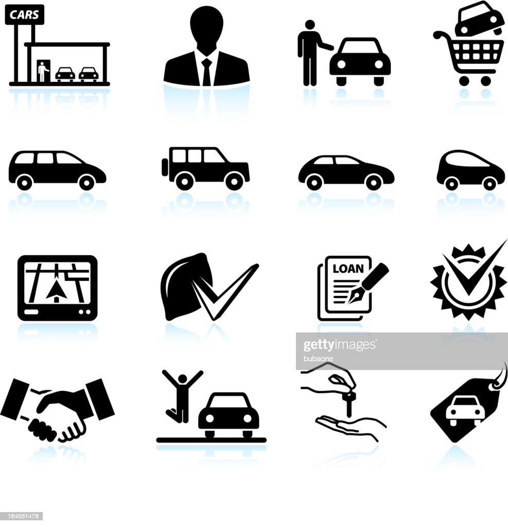 Buying new Car at dealership black & white icon set