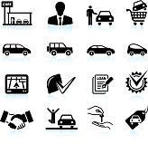 Buying new Car at dealership black & white icon set