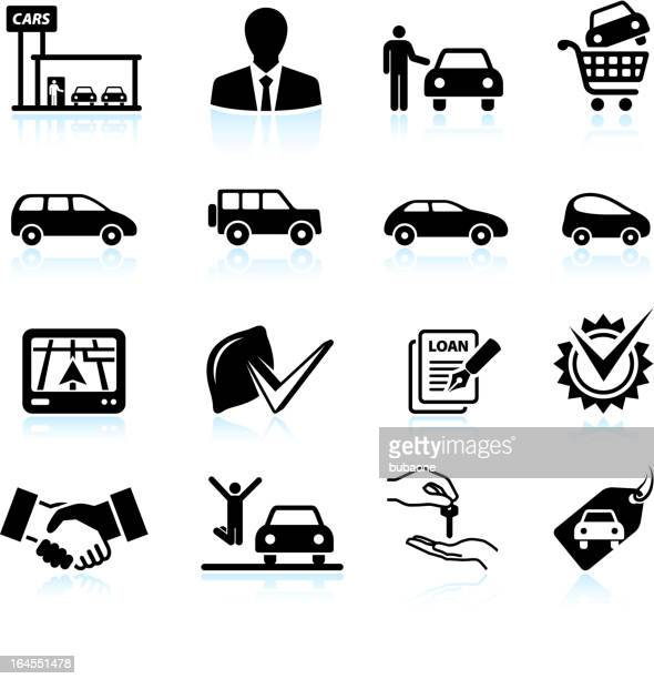 buying new car at dealership black & white icon set - car salesperson stock illustrations, clip art, cartoons, & icons