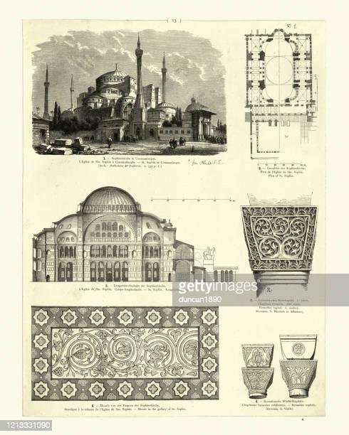 byzantinische architektur, hagia sophia, säulenhauptstädte, mosaik - hagia sophia stock-grafiken, -clipart, -cartoons und -symbole