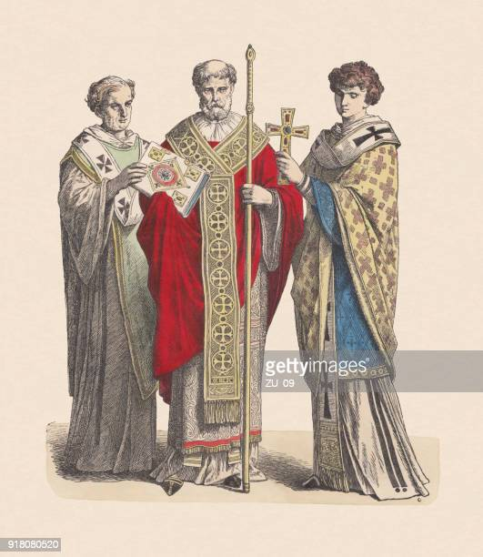 byzantine deacon, bishop, and levite, hand-colored wood engraving, published c.1880 - bishop clergy stock illustrations, clip art, cartoons, & icons
