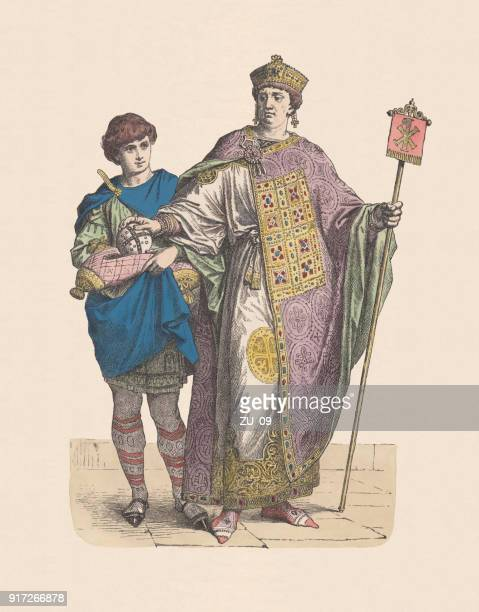 byzantine emperor and page, hand-colored wood engraving, published c. 1880 - byzantine stock illustrations