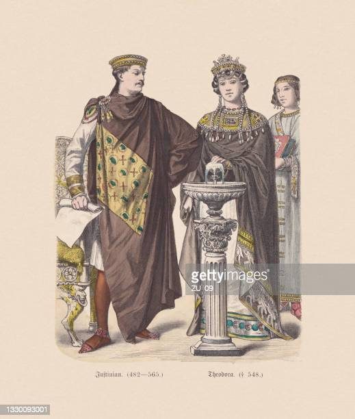 byzantine emperor justinian and theodora, hand-colored wood engraving, published c.1880 - justinian i stock illustrations
