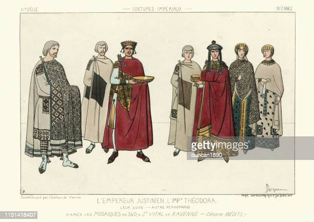 byzantine emperor justinian i and empress theodora - byzantine stock illustrations