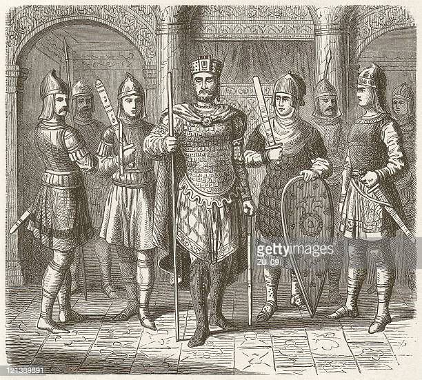 byzantine emperor surrounded by his household troops, published in 1881 - byzantine stock illustrations