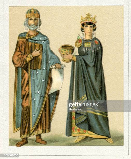 byzantine empire emperor and empress 10th century - medieval queen crown stock illustrations