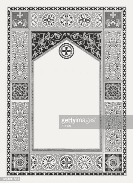 byzantine ornament frame with copy space, wood engraving, published 1884 - byzantine stock illustrations