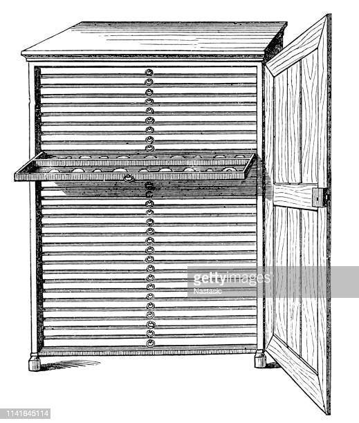 cabinet with box for seal collection - franc sign stock illustrations, clip art, cartoons, & icons