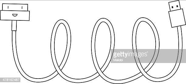 ilustrações, clipart, desenhos animados e ícones de a usb cable against white background - usb cable