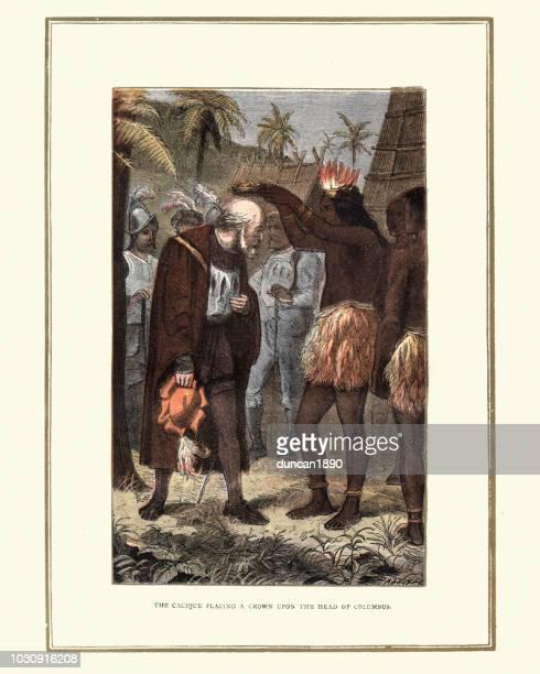 ilustraciones, imágenes clip art, dibujos animados e iconos de stock de cacique colocando una corona en christopher columbus - cristobal colon