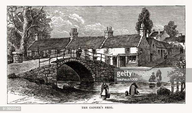 Cadger's Brig in Scotland Victorian Engraving, Circa 1840