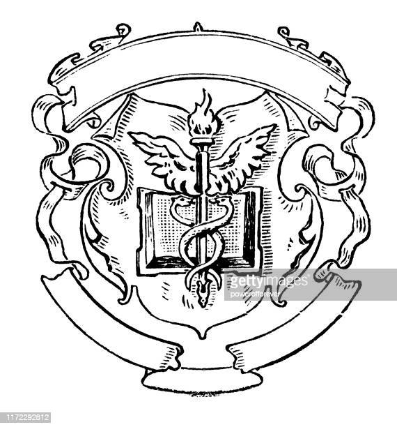 caduceus with banners - 19th century - medical symbol stock illustrations