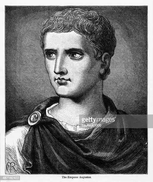 caesar augustus roman emperor engraving - capitol rome stock illustrations, clip art, cartoons, & icons