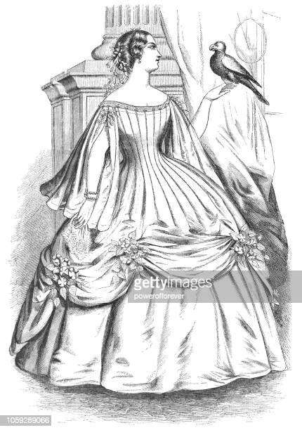 cage crinoline taffeta ball gown - victorian style fashion (1859) - en búsqueda stock illustrations