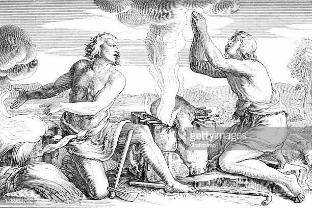 cain and abel offering to god - adam biblical figure stock illustrations, clip art, cartoons, & icons