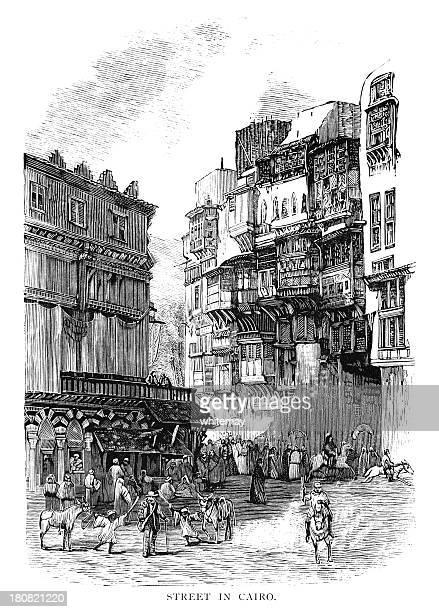 Cairo street scene - Victorian woodcut