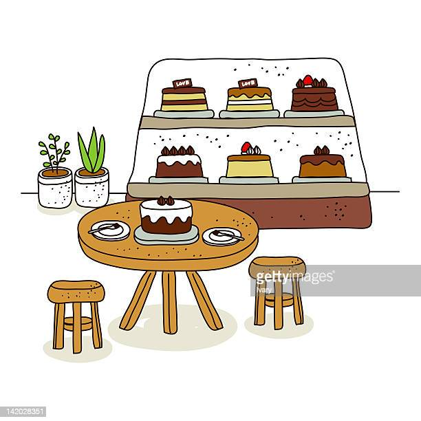 ilustraciones, imágenes clip art, dibujos animados e iconos de stock de cake in shop with table and chair - display cabinet