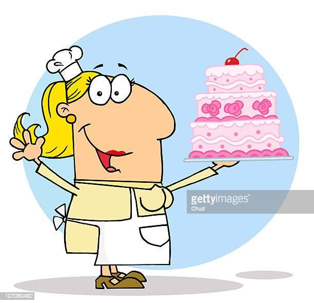 cake maker woman - baker occupation stock illustrations
