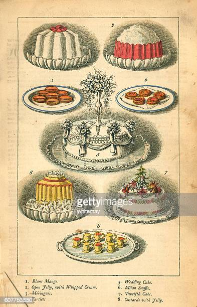 cakes and puddings - victorian illustration - gelatin dessert stock illustrations, clip art, cartoons, & icons