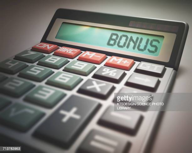 calculator with bonus - incentive stock illustrations, clip art, cartoons, & icons