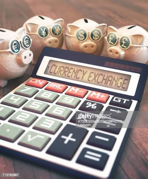 Calculator with currency exchange and piggy banks