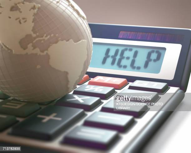 Calculator with help and globe