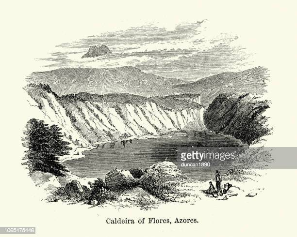 caldera of flores, azores, 19th century - volcanic crater stock illustrations, clip art, cartoons, & icons